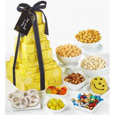 The Popcorn Factory Smiley Face 6 Tier Gift Tower